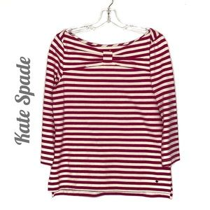 Kate Spade pink & white stripe boatneck bow top